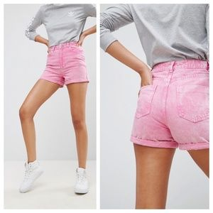 ASOS Pink Acid Wash Denim Mom Shorts
